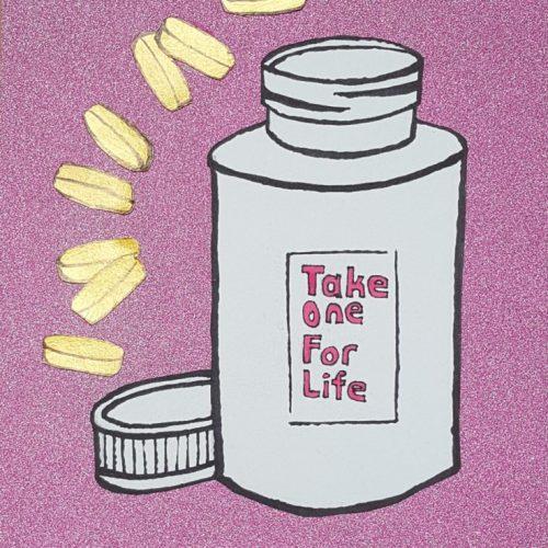 pills, medicine, glitter, pink, slogan